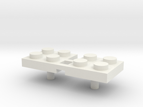 2x2 Peg 3mm Handle (x 2) in White Natural Versatile Plastic