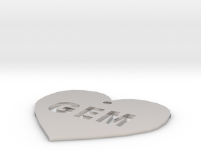 """Heart Name Tag Extra Large (3"""") in Platinum"""