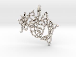 Gyarados Pendant II in Rhodium Plated Brass