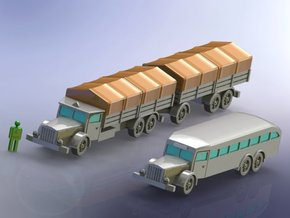 German Vomag Bus, Truck & Trailer 1/144 in White Natural Versatile Plastic