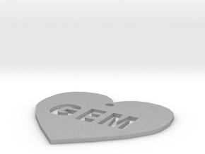"Heart Name Tag Large (2.5"") in Aluminum"