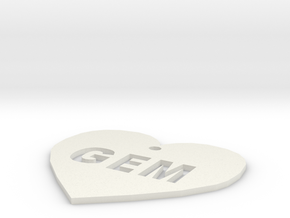 "Heart Name Tag Medium (2"") in White Natural Versatile Plastic"