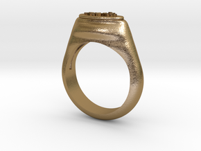 Flower Stamp Ring in Polished Gold Steel: 5 / 49
