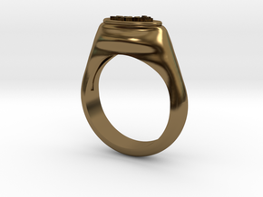 Flower Stamp Ring in Polished Bronze: 10 / 61.5