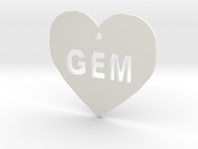 """Heart Name Tag Small (1.5"""") in White Natural Versatile Plastic"""