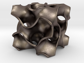 Gyroid D-Cell Unit in Polished Bronzed Silver Steel