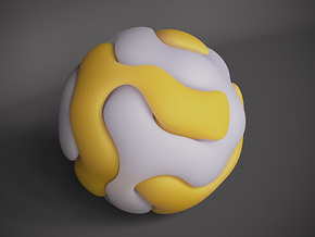 Gyroid Double Sphere in White Natural Versatile Plastic