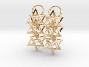 Triple Octahedron Earrings in 14K Yellow Gold