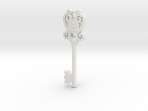 Key - Ornate 02B in White Natural Versatile Plastic
