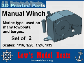 Manual Marine Winch: 1/16, 1/20. 1/24, 1/35 scales in White Natural Versatile Plastic: 1:16