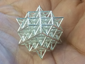 "64 Tetrahedron Grid small 1"" in Natural Silver"