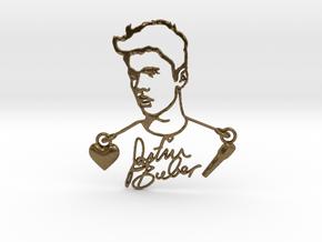 Justin Bieber Fan Pendant in Natural Bronze (Interlocking Parts)