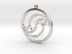 Pendant Tranquille in Rhodium Plated Brass: Medium