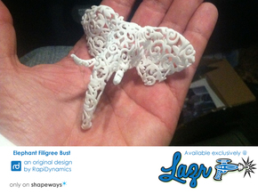 Elephant Filigree Bust in White Natural Versatile Plastic