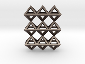 18 Pendant. Perfect Pyramid Structure. in Polished Bronzed Silver Steel