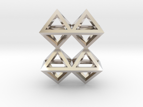 8 Pendant. Perfect Pyramid Structure. in Rhodium Plated Brass