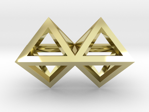 4 Pendant. Perfect Pyramid Structure. in 18k Gold Plated Brass