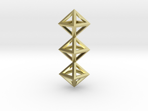 I Letter Pendant. Perfect Pyramid Structure. in 18k Gold Plated Brass