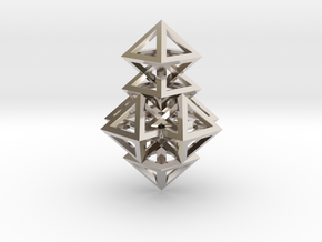 R14 Pendant. Perfect Pyramid Structure. in Rhodium Plated Brass