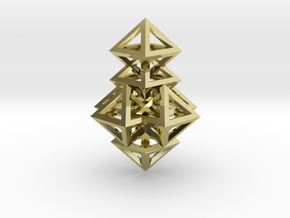 R14 Pendant. Perfect Pyramid Structure. in 18k Gold Plated Brass