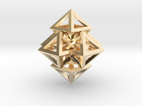 R12 Pendant. Perfect Pyramid Structure. in 14K Yellow Gold