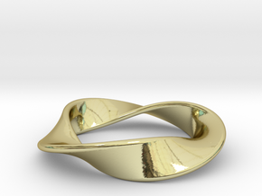 Moebius Strip Pendant (1.5 turns) in 18k Gold Plated Brass