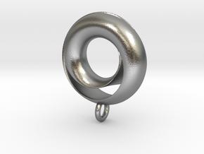 Negative Möbius Pendant in Natural Silver