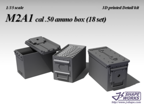 1/35+ M2A1 cal.50 Ammo box (18 set) in Frosted Extreme Detail: 1:35