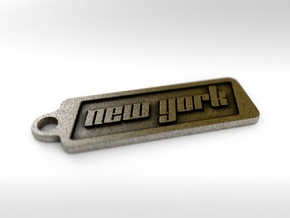 New York, New York Keychain in Polished Bronze Steel