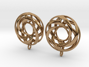 Twisted Torus Earrings in Precious Metals in Polished Brass