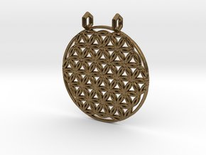 Flower Of Life Pendant (2 Loops) in Natural Bronze