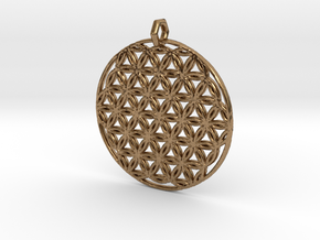 Flower Of Life Pendant (1 Loop) in Raw Brass
