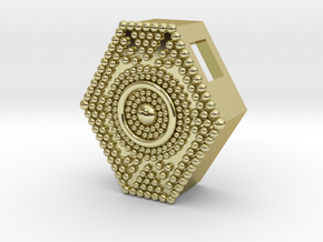 Granulated Hexagon Pendant in 18k Gold Plated Brass