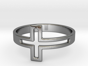 Cross Design Ring in Polished Silver: 7 / 54