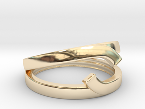 """Double Ring """"Comma"""" in 14K Yellow Gold: 12 / 66.5"""