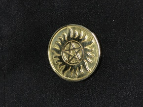 Supernatural Anti Possession Coin Pendant in Polished Brass