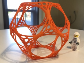 Dodecahedron Spiderweb Wireframe in Orange Processed Versatile Plastic