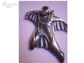 Wingsuit Keychain (and pendant) in Polished Bronzed Silver Steel: Large