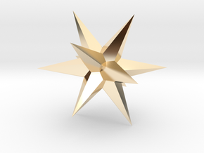 Star - Stellated Dodecahedron in 14k Gold Plated Brass: Small