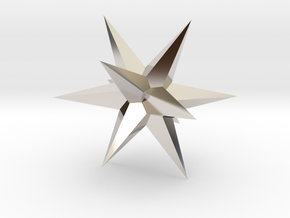 Star - Stellated Dodecahedron in Rhodium Plated Brass: Small