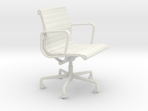 Miniature Eames Aluminium Group Management Chair in White Natural Versatile Plastic: 1:12