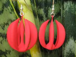 Six Crescents Earrings 1 in Red Strong & Flexible Polished