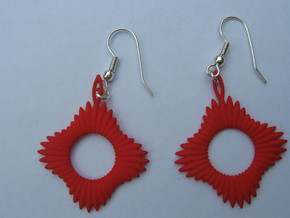 Forty Ray Sun Earrings in Red Strong & Flexible Polished