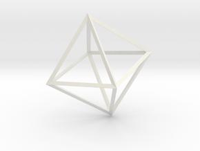 Math Art - Double Tetrahedron  Pendant in White Natural Versatile Plastic