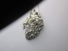 Brain Half, Right-side Pendant in Polished Silver