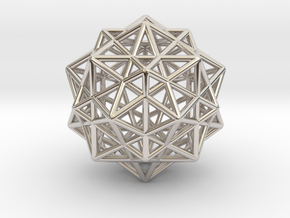 Icosahedron with Star Faced Dodecahedron in Platinum