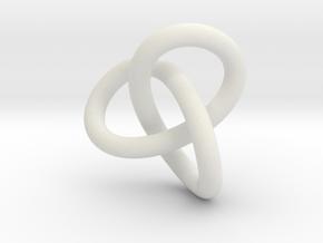 Math Art - Gordian Knot  Pendant in White Natural Versatile Plastic