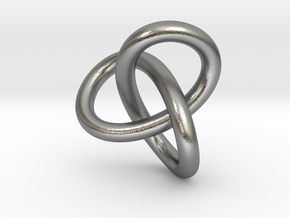 Math Art - Gordian Knot  Pendant in Natural Silver