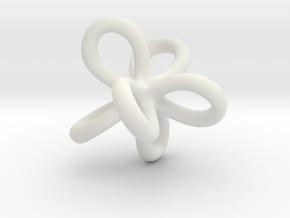 Math Art - Entangled Infinities Pendant in White Natural Versatile Plastic