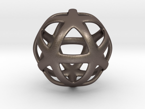 Math Art - Star Ball Pendant in Polished Bronzed Silver Steel
